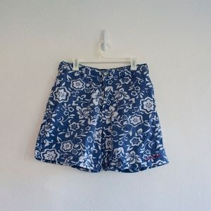 Men's Blue and White Floral Polo Sport Shorts